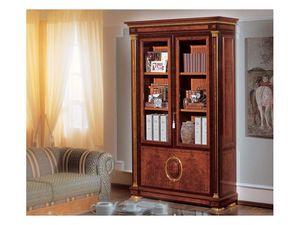 IMPERO / Bookcase with 2 doors, Bibliothèque en frêne ronce, style classique de luxe