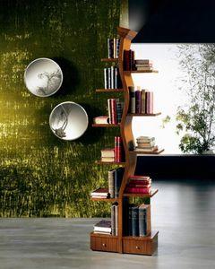 LB02 Giovane Albero, Bibliothèque en bois avec une lampe, sous la forme d'un arbre
