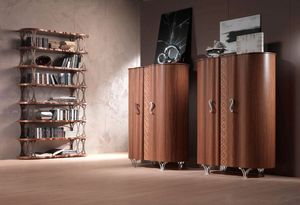 LB31 Mistral bibliothèque, Placage de noyer Bibliothèque, supports en bronze