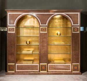 LB34 bibliothèque, Bibliothèque classique avec deux arcs, avec des étagères en verre
