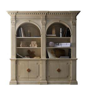 Montignoso ME.0129, Bibliothèque Médicis avec 2 portes avec inserts en marbre, chapiteaux corinthiens, petites chambres rétractable, dans le style classique