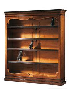 Perugino ME.0932.H, Bibliothèque marqueterie en noyer avec 4 étagères réglables, pour les environnements classiques