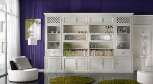 R 08, Bibliothèque avec armoires laquées avec poignées en laiton