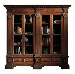 Sillano ME.0124, Bibliothèque en noyer avec 4 portes, miroirs de bruyère et chapiteaux corinthiens, base avec deux tiroirs, pour les environnements de style classique