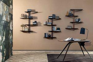 ALBATROS  libreria, Bibliothèque avec étagères en métal peint et structure en bois