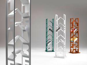 Alfabet, Bibliothèque en acier laqué, pieds réglables, pour les maisons modernes