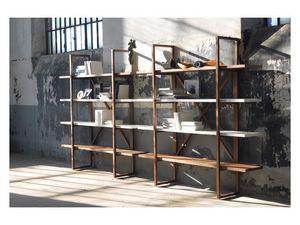 Assioma, Bibliothèque en bois massif, pour les salons