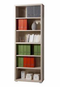 Bibliothèque en bois avec 6 étagères, bureau et bureau d'étude modernes, Bibliothèque modulaire moderne en bois
