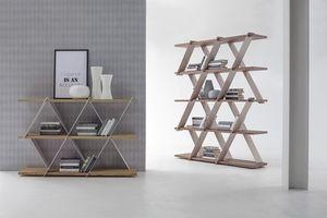 CASTLE, Bibliothèque avec structure en métal et étagères en bois