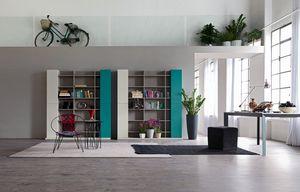 Citylife 32, Composition moderne pour le salon, avec bibliothèque