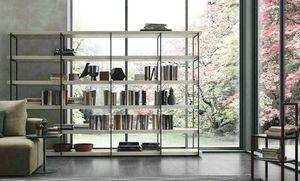 Comp. A102, Bibliothèque avec structure métallique et étagères en bois