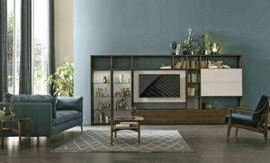 Comp. A117, Bibliothèque avec meuble TV pivotant