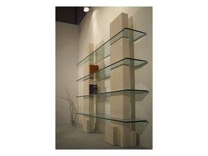Cube bookcase, Bibliothèque avec structure en pierre et des étagères en verre