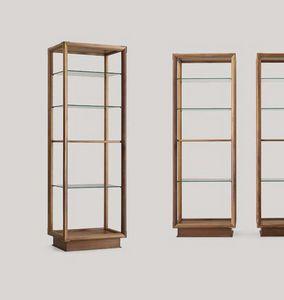 Didier Bibliothèque de la colonne, Bibliothèque double face avec étagères en verre