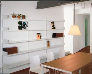 Elle System Living, Bibliothèque murale, modulaire, en métal laqué, pour living