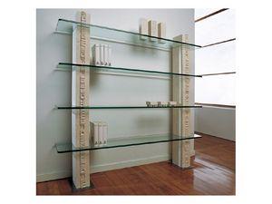 Etnica Bookcase, Blanc bibliothèque en pierre, avec des étagères en verre