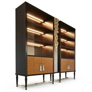 FLORA / bibliothèque, Bibliothèque avec portes incrustées