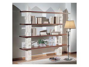 Gaia Bookcase, Bibliothèque modulaire en pierre, étagères en verre ou en bois