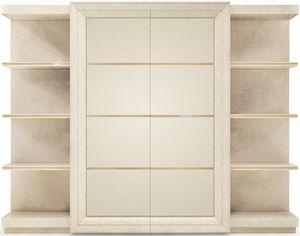 George modern, Bibliothèque avec éléments recouverts de cuir