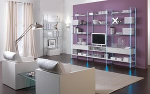 Glassystem COM/GS5, Bibliothèques linéaires, meubles de salle de séjour, la structure de verre, des étagères en bois ou des étagères en verre