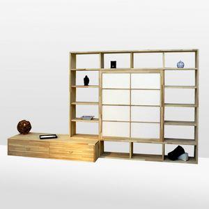 Haru-B, Bibliothèque en hêtre, sur mesure