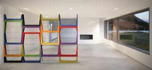Iride, Bibliothèque avec structure en MDF, étagères en verre