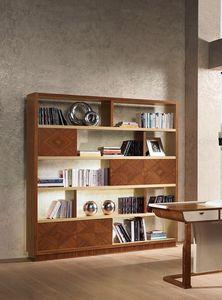 LB39 Desyo bibliothèque, Bibliothèque en marqueterie de noyer et de chêne, pour les classiques salons