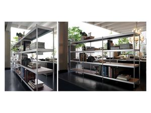 Light, Bibliothèque modulaire avec étagères en acier laqué
