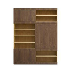 Maschera FS3510599, Bibliothèque en bois, à portes coulissantes