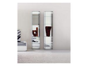 Miss Bookcase, Bibliothèque moderne, en verre, avec miroir de retour