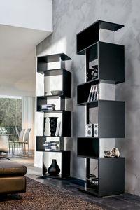 OSUNA, Bibliothèque tournante en bois laqué, finition miroir