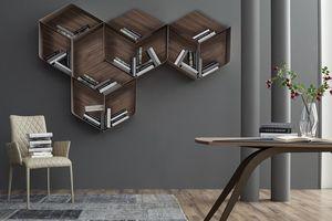 PANGEA, Bibliothèque modulaire, composé de cubes en bois et métal