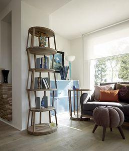 Raven bibliothèque ovale, Bibliothèque moderne en bois, base ovale