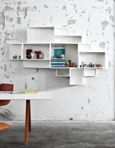 SheLLf, Bibliothèque avec des récipients de différentes tailles, en stratifié