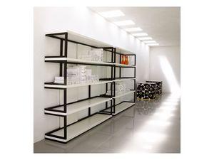 Sipario, Bibliothèque en bois massif, étagères laquées