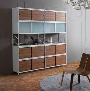 Socrate bibliothèque, Bibliothèque modulaire en métal, pour bureaux et maisons modernes