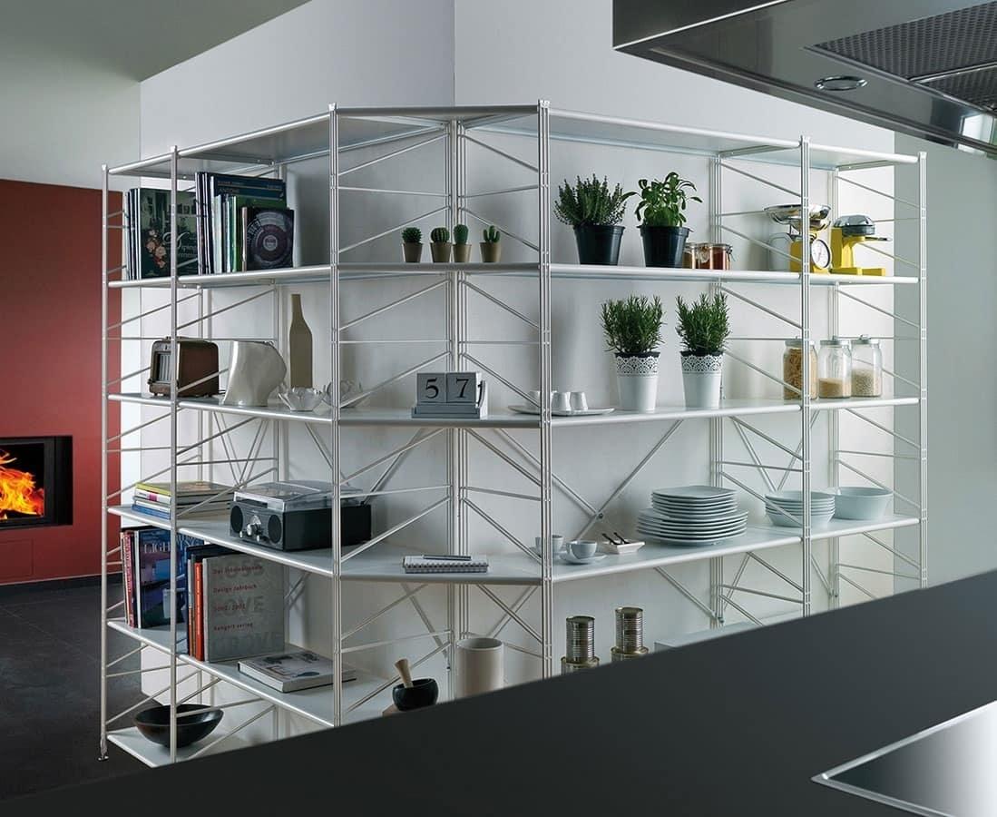 Socrate, Bibliothèque en métal avec des étagères en verre trempé