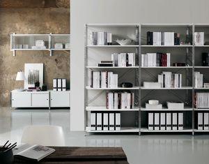 Socrate home-office, Bibliothèque en métal et en verre, différentes finitions