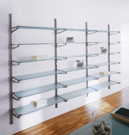 Socrate wall, Bibliothèque modulaire de mur, des étagères en verre