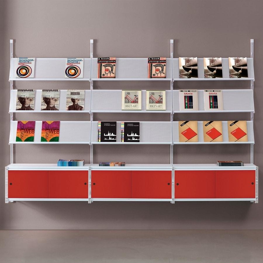 Socrate wall 2, Bibliothèque murale avec étagères en verre, accessoires divers