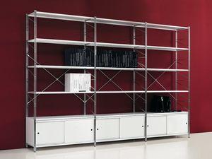 Socrate white, Bibliothèque des étagères métalliques peints