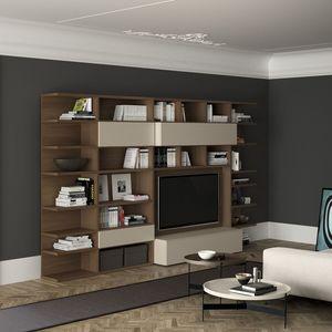 Spazioteca SP011, Bibliothèque en bois moderne avec espace tv