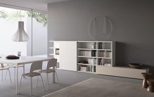 Spazioteca SP016, Bibliothèque modulaire avec des étagères et des conteneurs de boîte