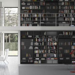 Spazioteca SP018, Bibliothèque modulaire, dans un style moderne, pour le bureau