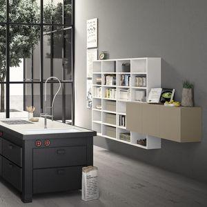 Spazioteca SP019, Bibliothèque modulaire en bois, faits sur mesure, pour le bureau
