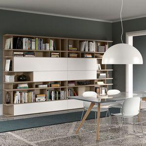 Spazioteca SP020, Bibliothèque modulaire moderne en bois, personnalisable
