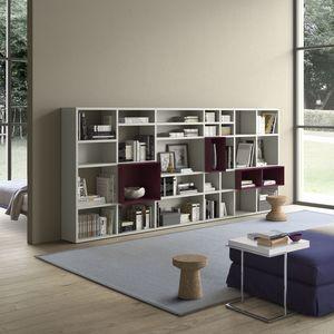 Spazioteca SP027, Boookcase modulaire en bois, avec différentes tailles de boîte