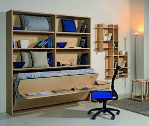 Surf LS441 bureau, Bibliothèque avec bureau et lit pliant