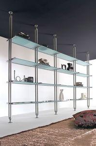 Tangram, Bibliothèque en métal laqué, avec des étagères en verre