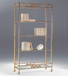 VIVALDI 1082, Laiton bibliothèque avec des étagères en verre, pour les pièces de vie